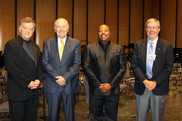 Mark Camphouse, composer; Keith Bearden, Vice President International Phi Beta Mu; Dr. Nicholas Williams, conductor Greater Dallas Youth Orchestra Wind Symphony; Danny Prado, President Alpha Chapter
