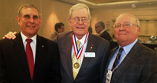 Alpha Trio: Paul Worosello [PBM International President]; Richard Crain [PBM International Hall of Fame]; Gary Wells [Executive Secretary, Alpha Chapter]